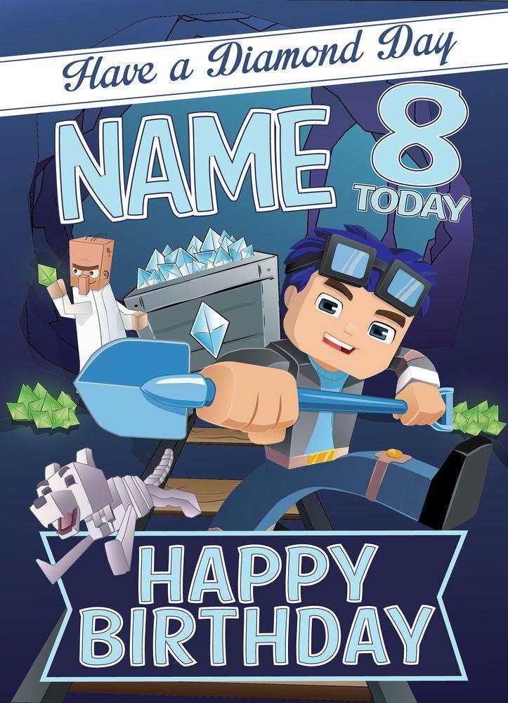 Dan Tdm Minecart Minecraft Personalised Birthday Card Free 1st