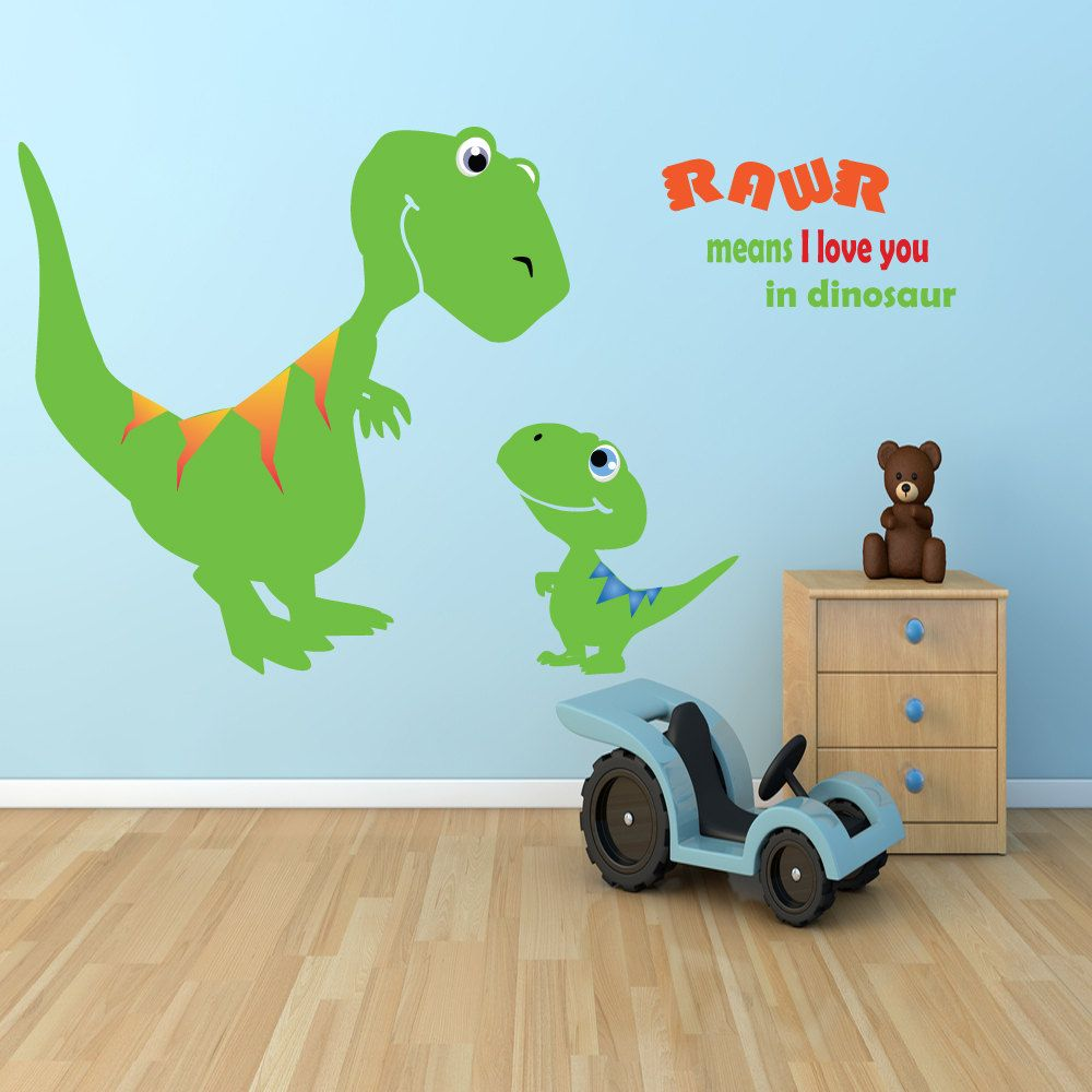 Children dinosaur wall decal boys room dino t rex for Dinosaur wall decals for kids rooms