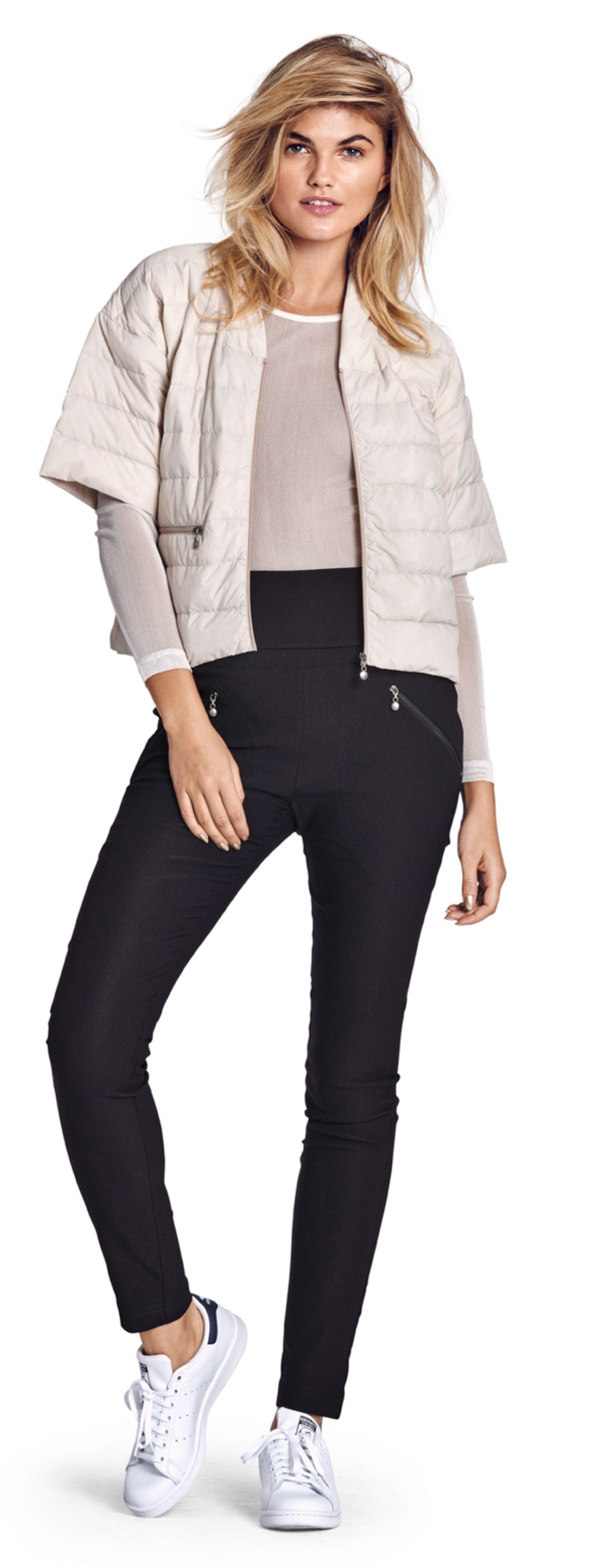 Cropped Puffy Jacket with Half-sleeve