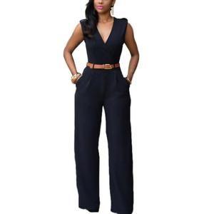 combinaison pantalon larges femme de soir e sexy l gante jumpsuit noire uni chic col v sans. Black Bedroom Furniture Sets. Home Design Ideas