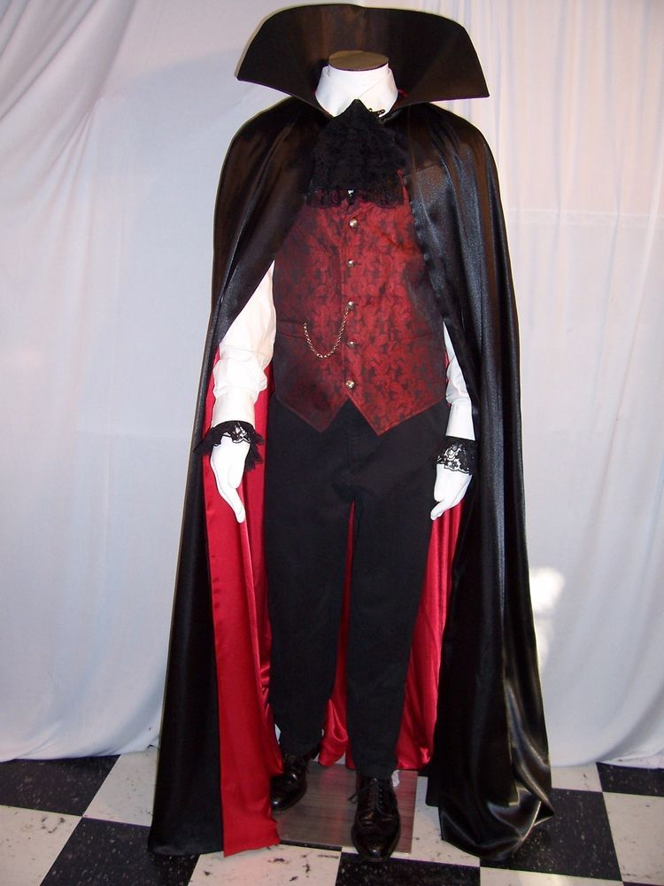 Satin Cape Red Bat Lining Adult Men Women Halloween Costume Accessory Vampire