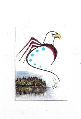 aceo eagle bird native aboriginal abstract Walker ebsq art painting original