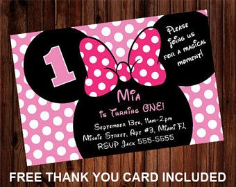 24hrs Turn Around Time Pink Minnie Mouse Invitation Minnie 1st