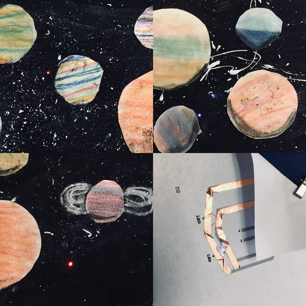 Third Grade Planet Painting Light Up Planets Circuits With Chibitronics Art Blog 3rd Grade Art Lesson 3rd Grade Art