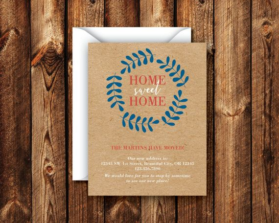 Photo of Home Sweet Home We Moved Announcement Rustic Paper Bag Card Navy Blue Red Orange Wreath Have a New Address Card I Moved DIGITAL or PRINTED