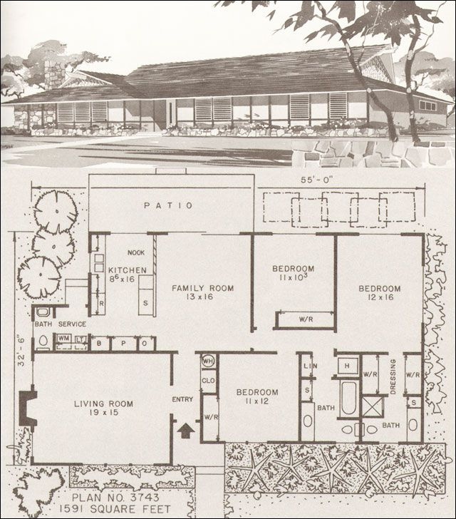 Design No Plan No 3743 Hiawatha T Estes C 1960 Ranch And Modern Homes Modern Hawaiian Style Ra Mid Century Modern House Modern House Plans House Plans