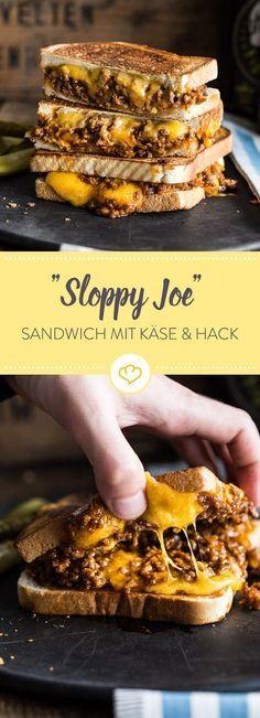 Sloppy Joe – Gegrilltes Sandwich mit Hack & Cheddar #schnellepartyrezepte