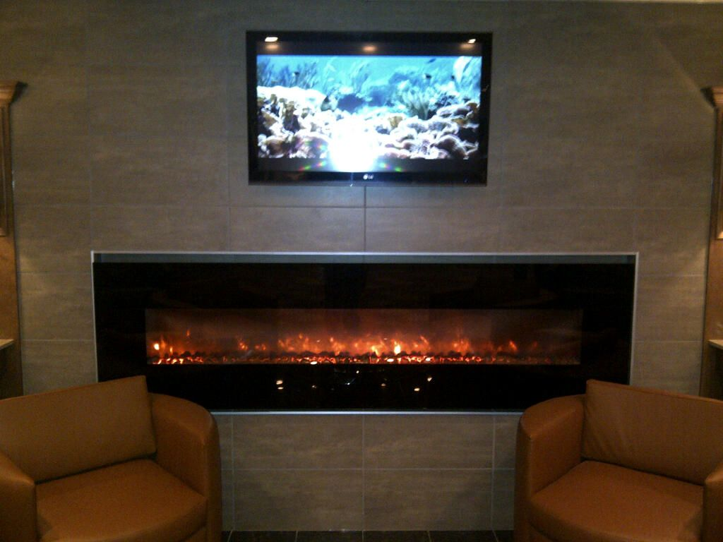 this is the long fireplace located in the lobby at crc right