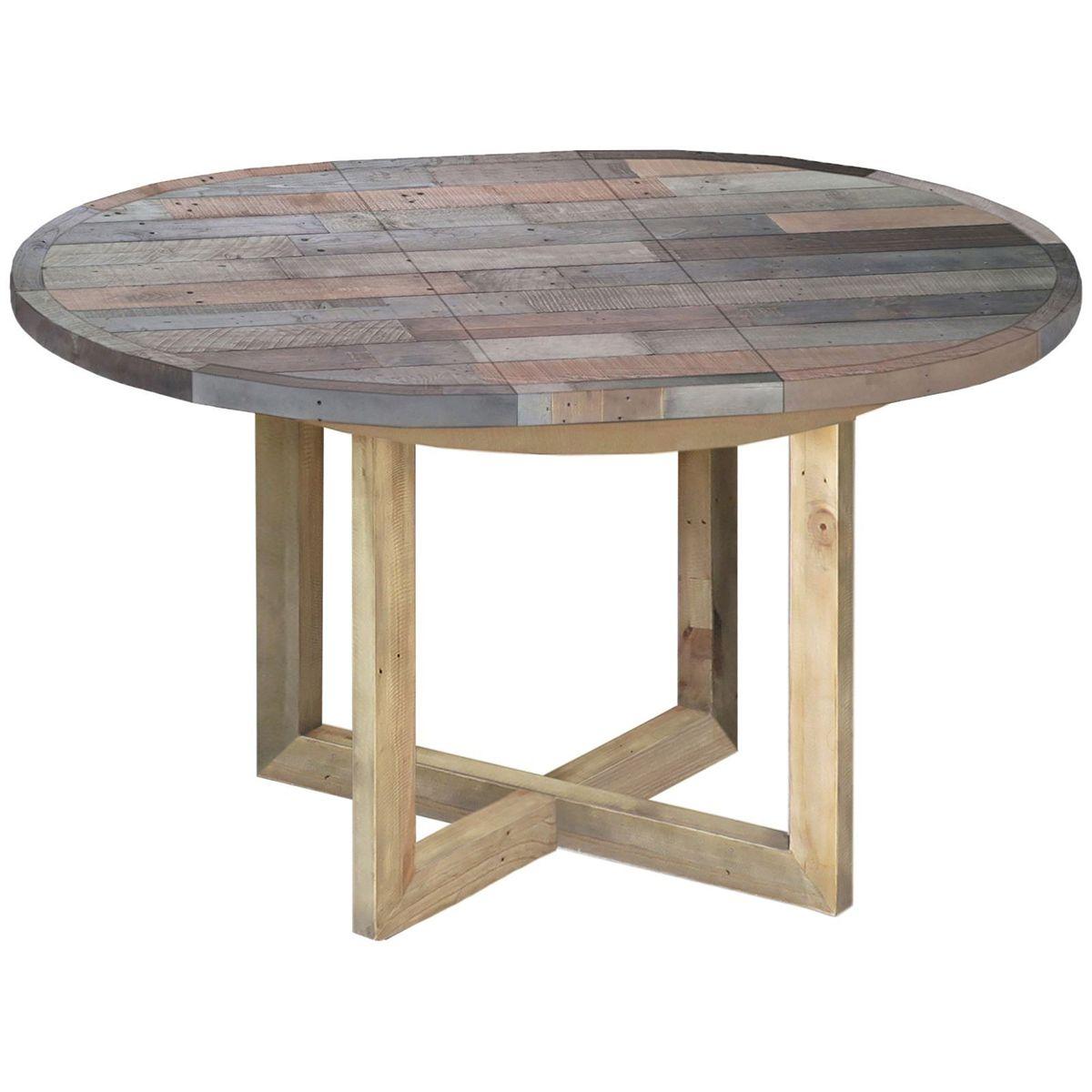 Toronto Reclaimed Pine Round Extending Dining Table | \