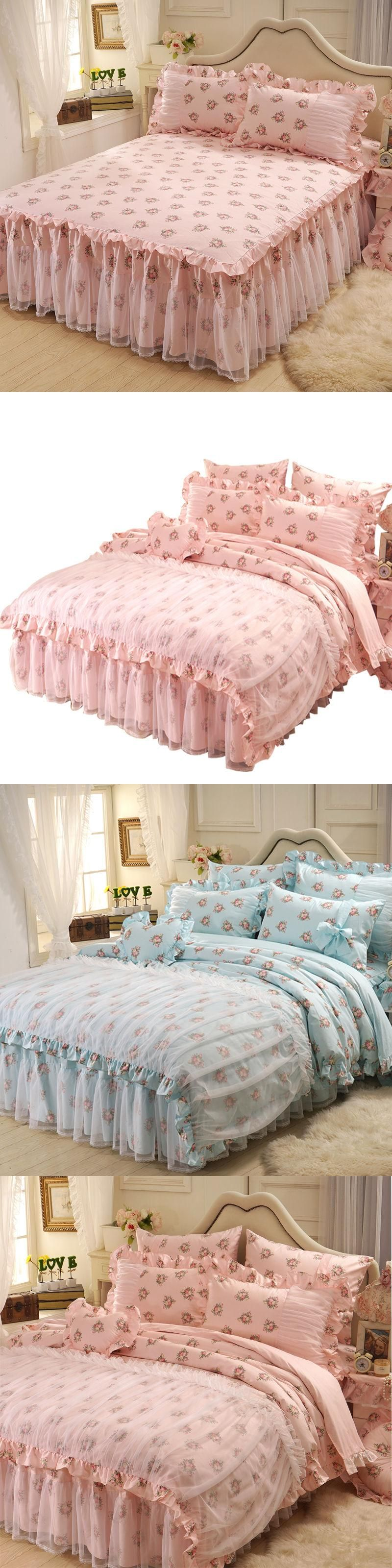 Princess pastoral fashion bedding set queen size,lace bed skirts ...