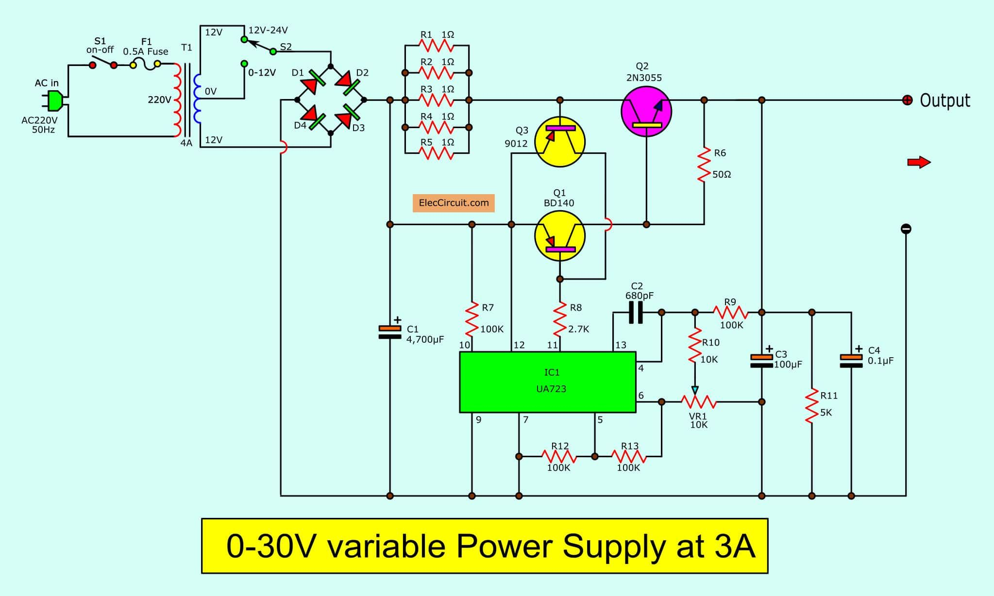 0 30v Variable Power Supply Circuit Diagram At 3a Eleccircuit Com Power Supply Circuit Circuit Diagram Power Supply Design