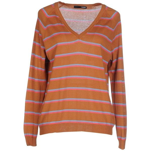 .tessa Sweater ($45) ❤ liked on Polyvore featuring tops, sweaters, brown, cotton v-neck sweater, orange striped sweater, orange sweater, brown sweater and lightweight sweaters