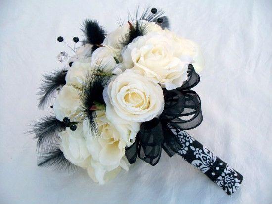 black and white wedding bouquet | wedding- black white & burgundy ...