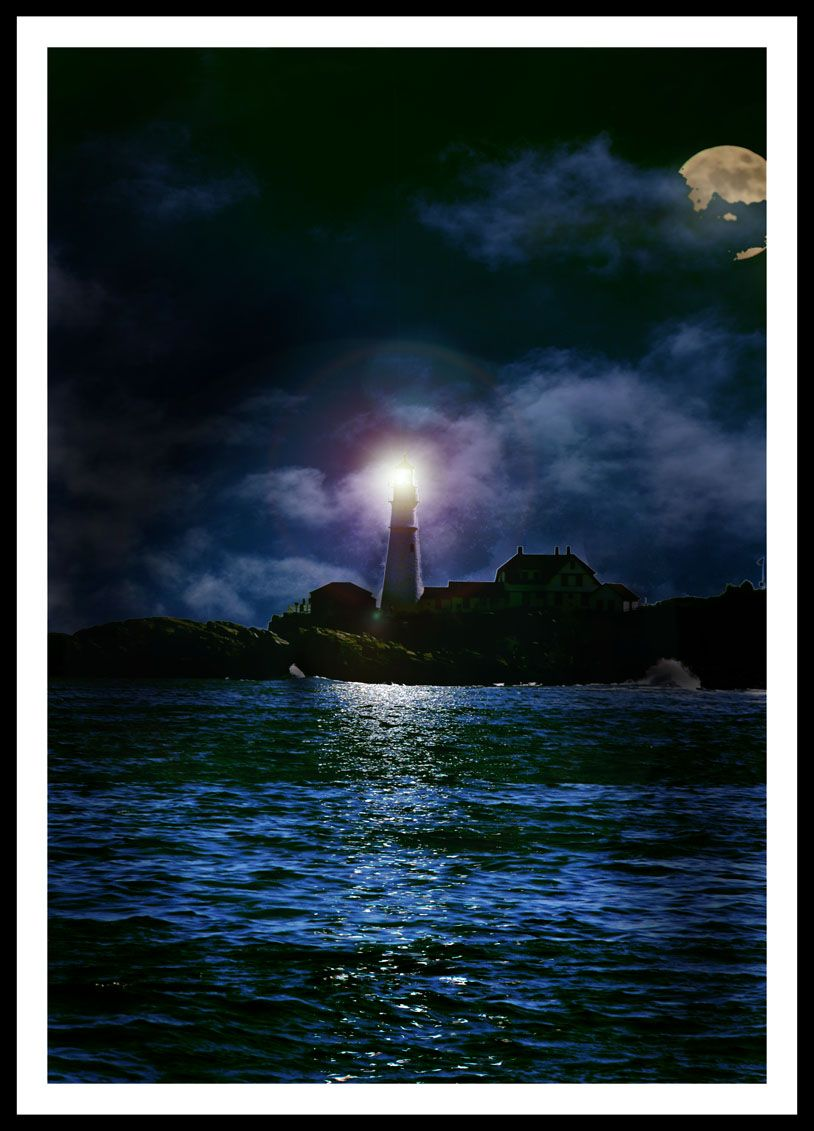 Paintings of Lighthouses at night   lighthouse at night by