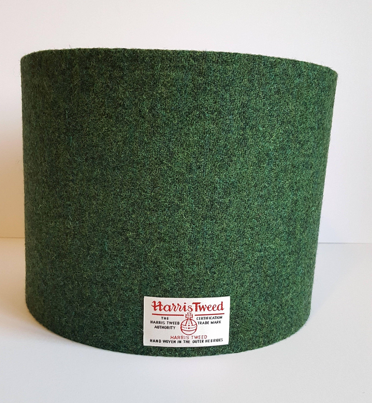 Dark Green Harris Tweed Lampshade In A Choice Of Sizes Drum Shape Green Lamp Shade Antique Lamp Shades Pottery Barn Lamp Shades