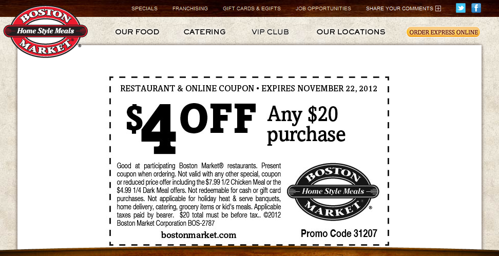 4 off 20 at Boston Market restaurants coupon via The