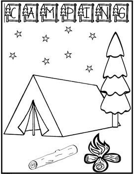 camping coloring page freebiedraw yourself in the picture write a summer or camping story on the back