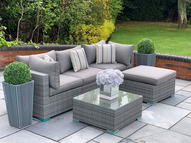 5 Piece Richmond Rattan Complete Sofa, Grey Rattan Outdoor Furniture Set