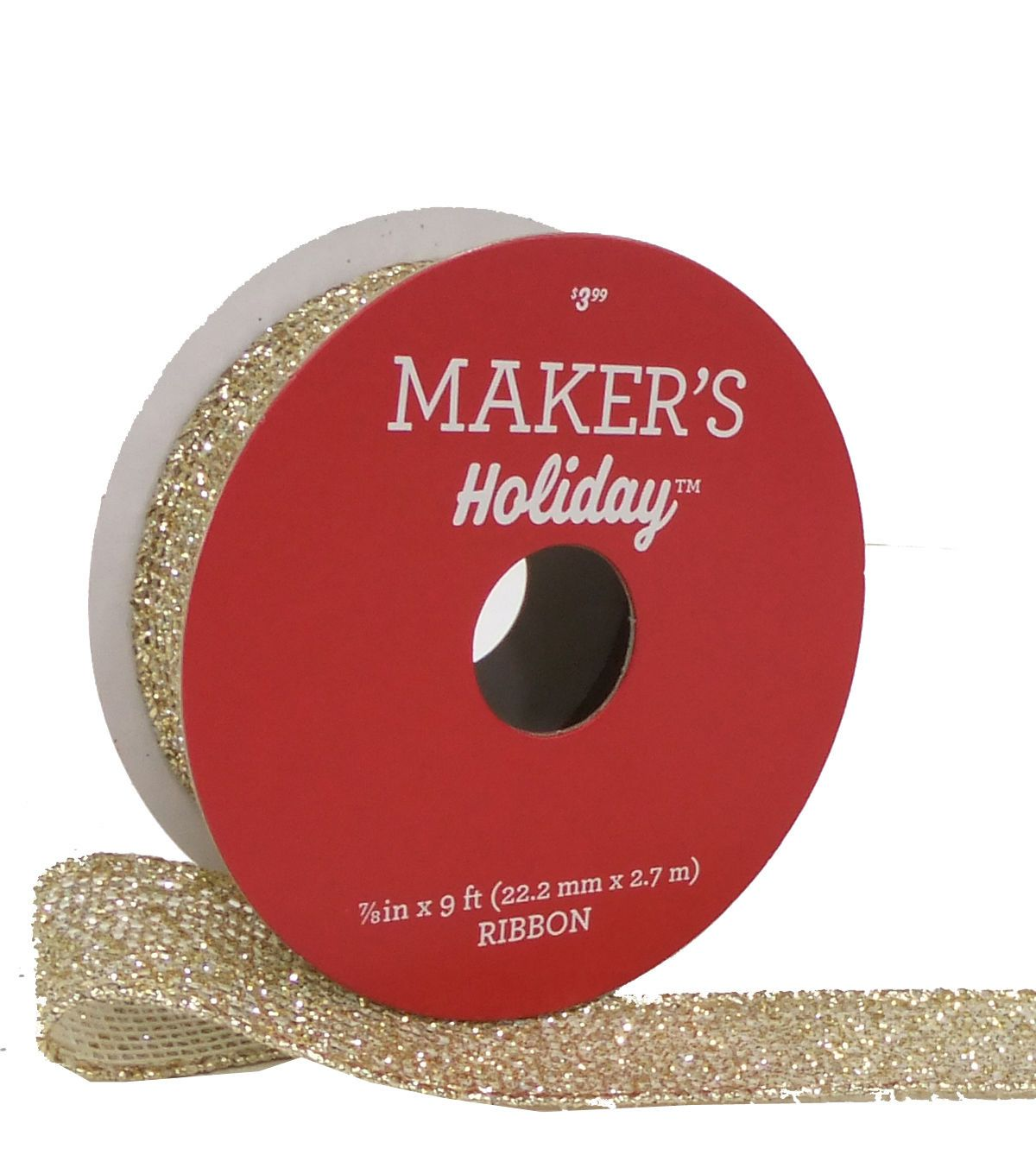 Maker's Holiday Christmas Mesh Wire Ribbon 7/8''x9' - Gold