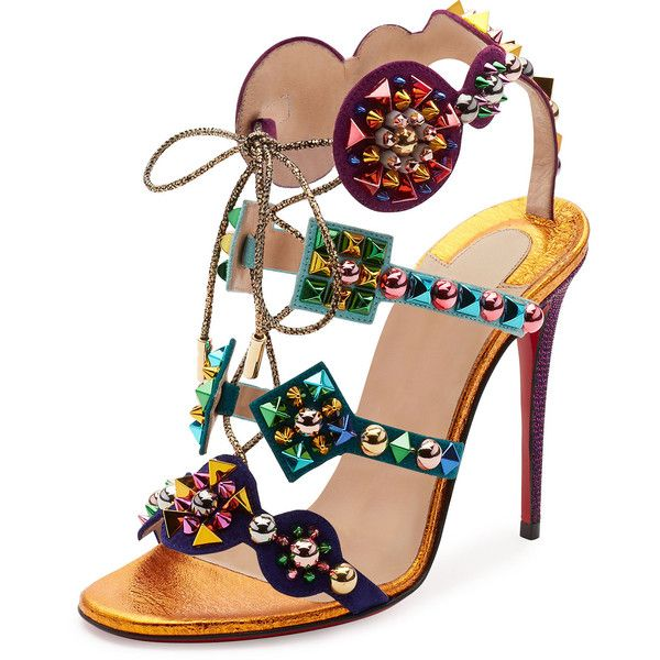 Christian Louboutin Kaleikita Spiked Lace-Up 100mm Red Sole Sandal,... ($1,295) via Polyvore featuring shoes, sandals, gold lace up shoes, christian louboutin sandals, spike shoes, laced shoes and christian louboutin