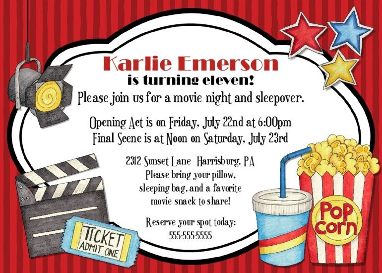Free Printable Movie Party Invitations Party Ideas – Movie Night Invitations Free Printable
