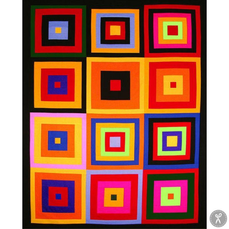 Colorful kona squares downloadable quilt pattern quilt