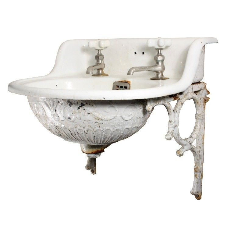 Rare Antique Wall Mount Sink With Decorative Detail 19th Century 325