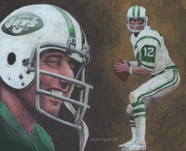 Football art · joe namath colored pencil drawing