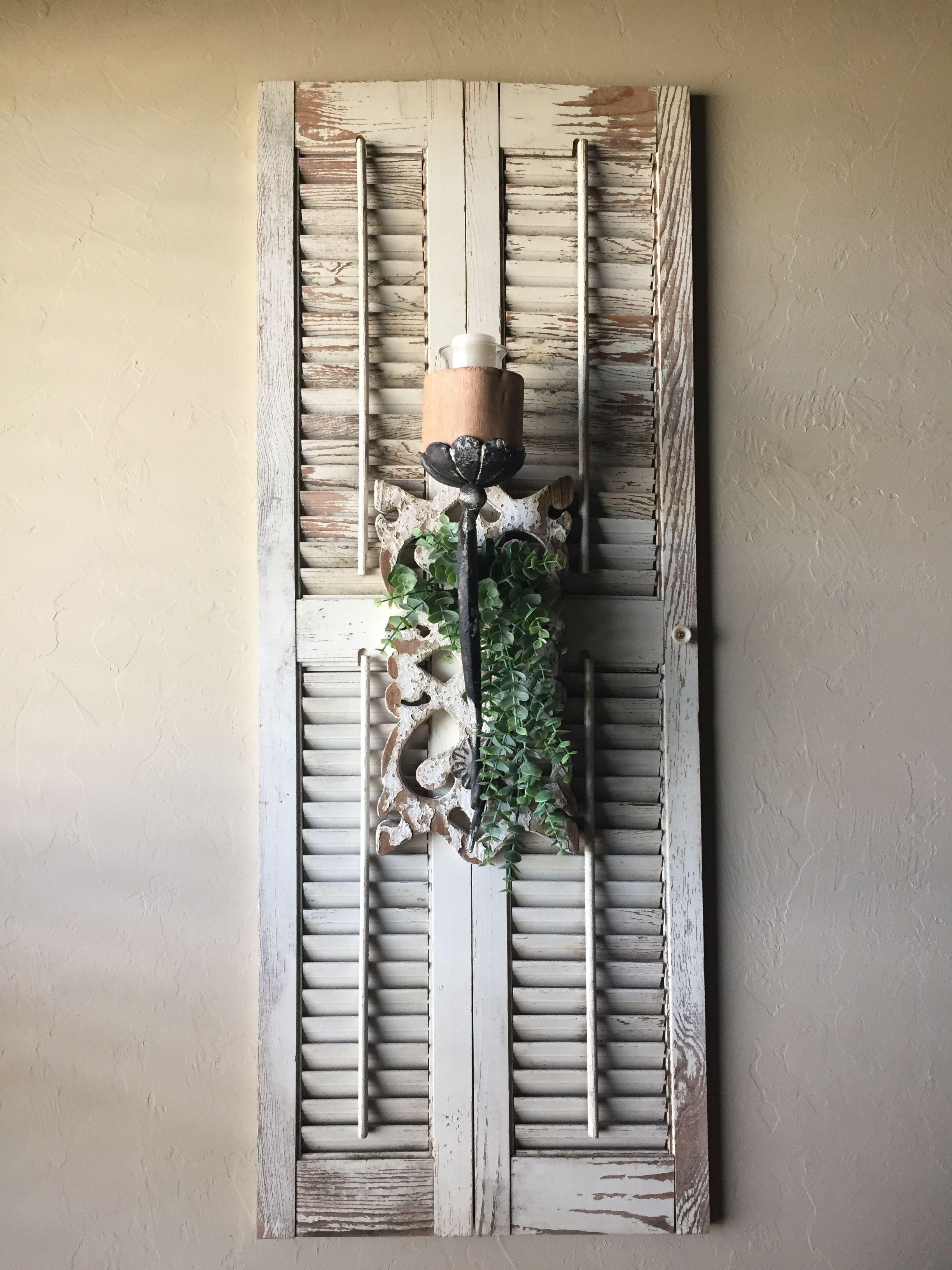 Hobby Lobby candle sconce on an old shutter... prefect ... on Sconces Wall Decor Hobby Lobby id=22481