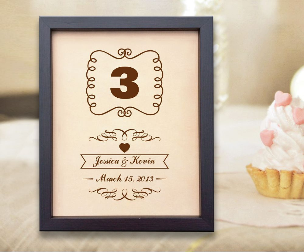 Lik leather engraved wedding third anniversary gift three years