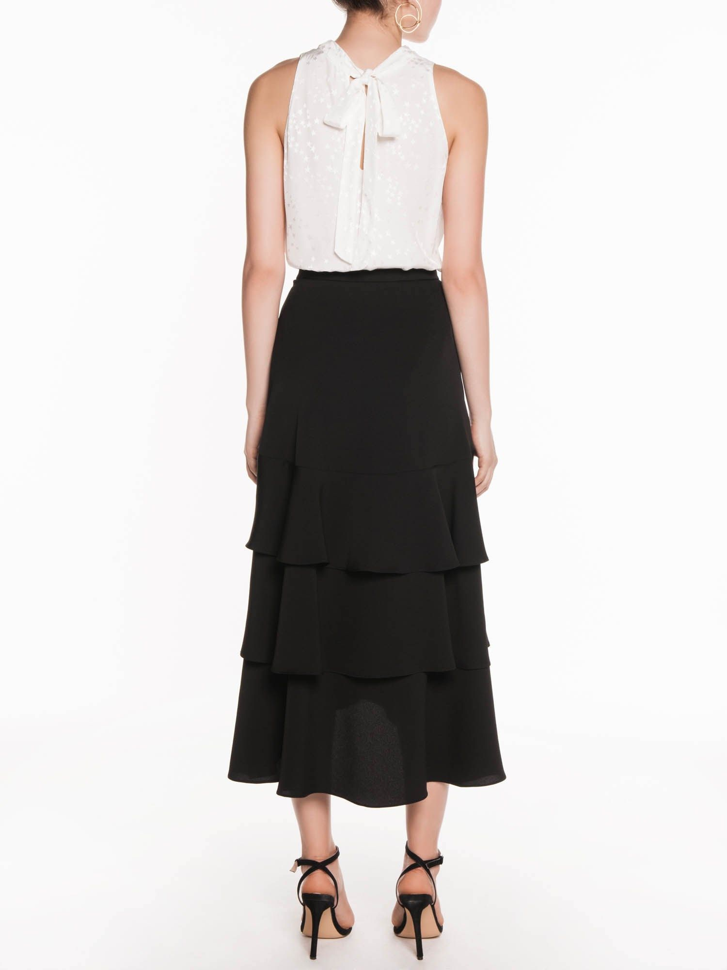 5a0f526efc3b Crepe Tiered Midi Skirt | Buy Skirts Online - Veronika Maine | Work ...