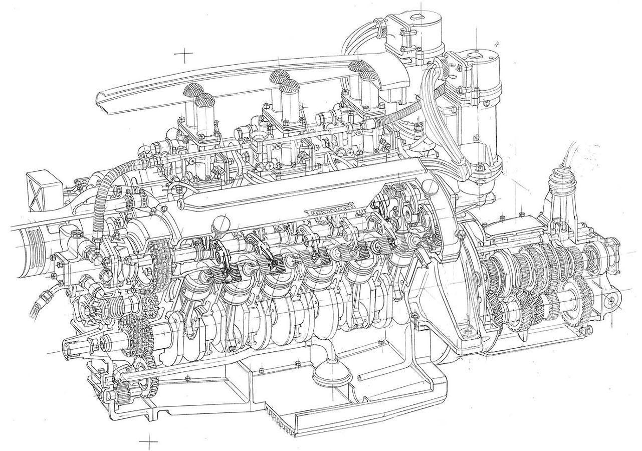 Ferrari V12 Engine Blueprints