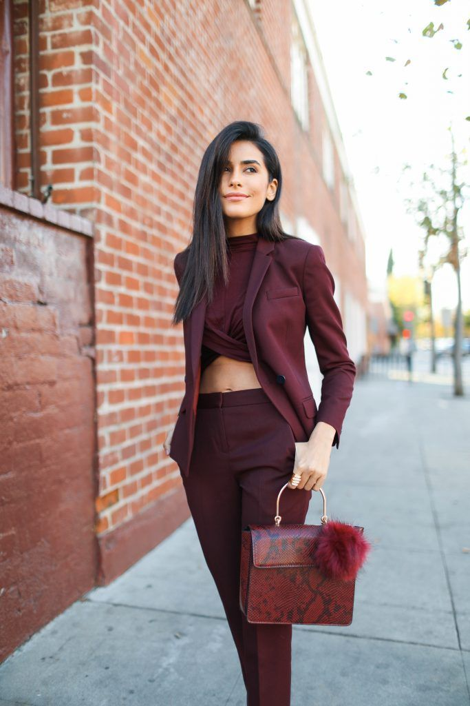746df692cf3 Transition from winter to spring in a beautiful burgundy red monochromatic  outfit. A cropped shirt will add texture and an edge to your look.