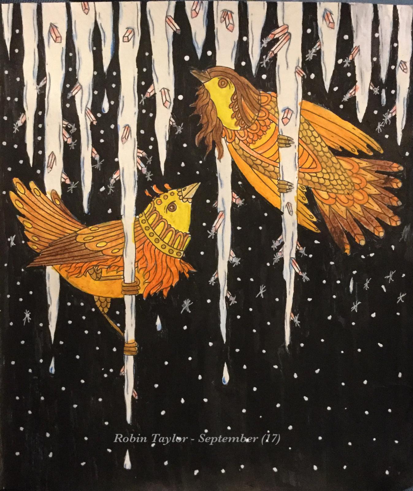 Tidevarv Seasons By Hanna Karlzon Colored With Derwent Inktense Pencils Posca Background Colorist Robin Taylor