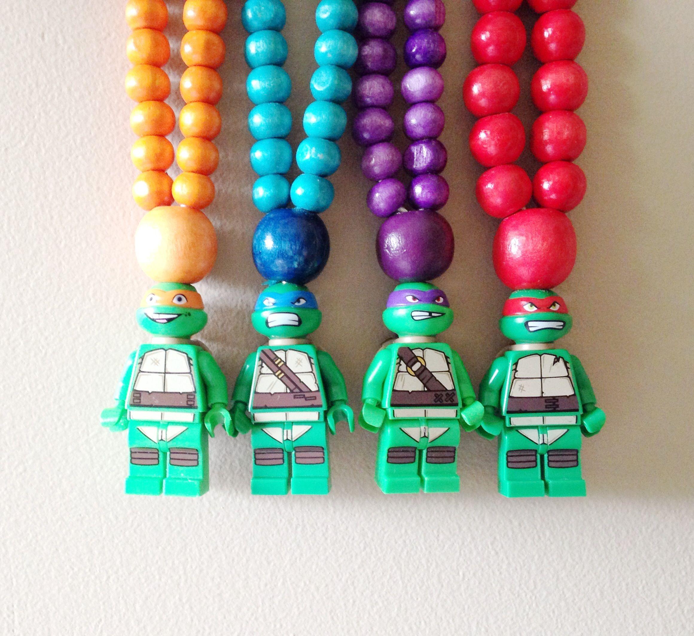 Ninja turtle wooden beaded necklaces.