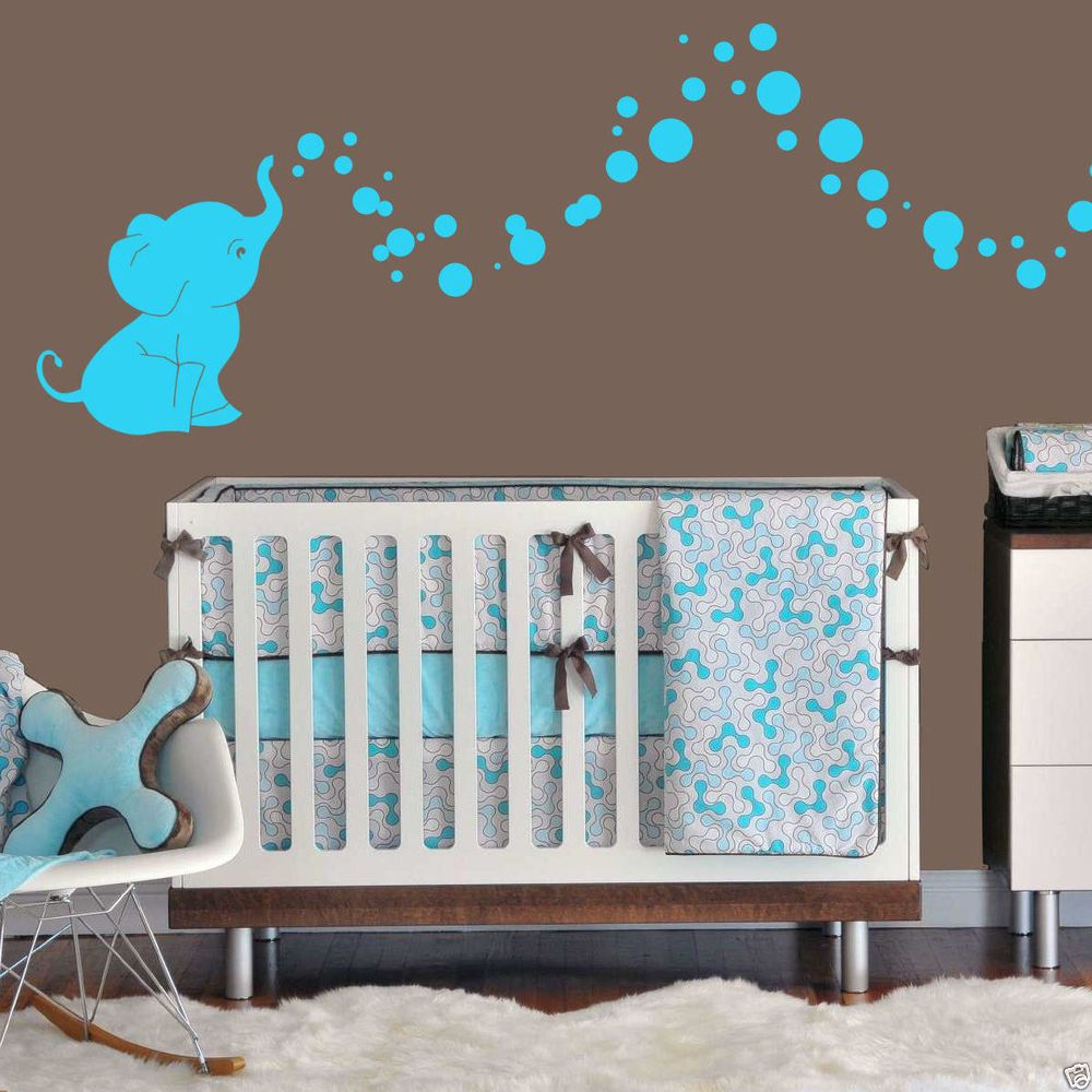 Decorating Ideas Gorgeous Baby Nursery Room Design With Elephant Wall Murals Including White Wood Box And Brown Bedroom