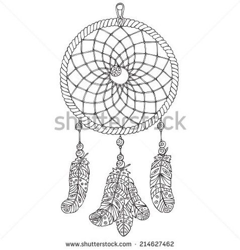 Dream Catcher Outline Amulet Dream Catcher Handdrawn Illustration Object Of Native