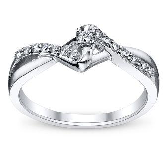 Cherish 10k White Gold Diamond Promise Ring 1 6 Ct Tw Shop Engagement Rings Classic Diamond Ring Diamond Promise Rings