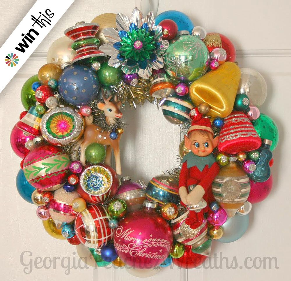 Entries Now Closed Enter To Win A Vintage Ornament Wreath From Georgia Peachez Vintage Ornament Wreath Vintage Christmas Ornaments Wreath Giveaway