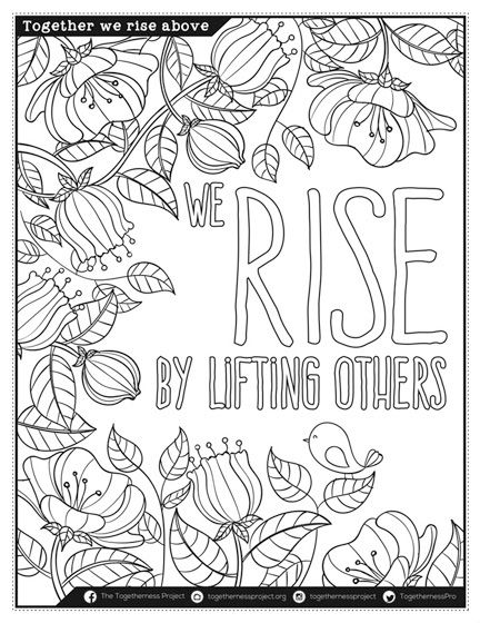 We Rise By Lifting Others, free downloadable adult coloring book ...