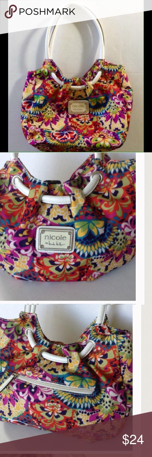 Nicole Miller Colorful Floral Shoulder Bag Purse Floral