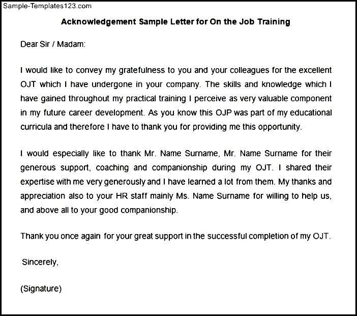 Sample letter for the job training templates appreciation sample letter for the job training templates appreciation certificate completion thank you word yadclub Images