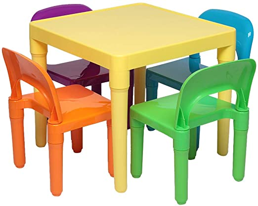 Amazon Com Goujxcy Kids Table And Chair Set Plastic Table And Chair For Toddler Activity For Reading In 2020 Kids Table Chair Set Kids Table And Chairs Toddler Chair