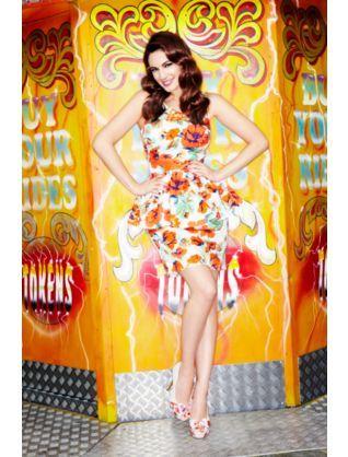 Kelly Brook Orange Poppy Peplum Dress