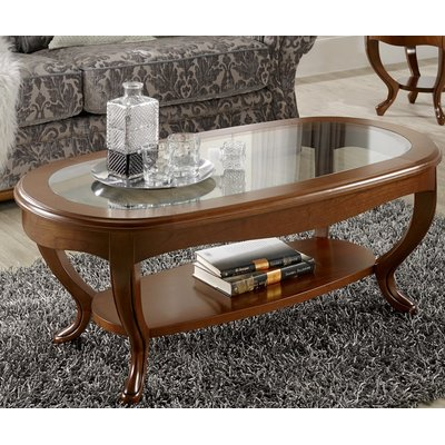 Canora Grey Royce Oval Glass Top Coffee Table With Images