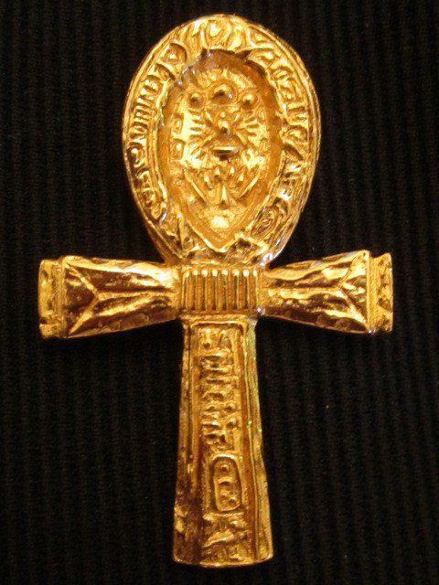 Egyptian Ankh Pendant Vintage 24k Gold Overlay Ornate