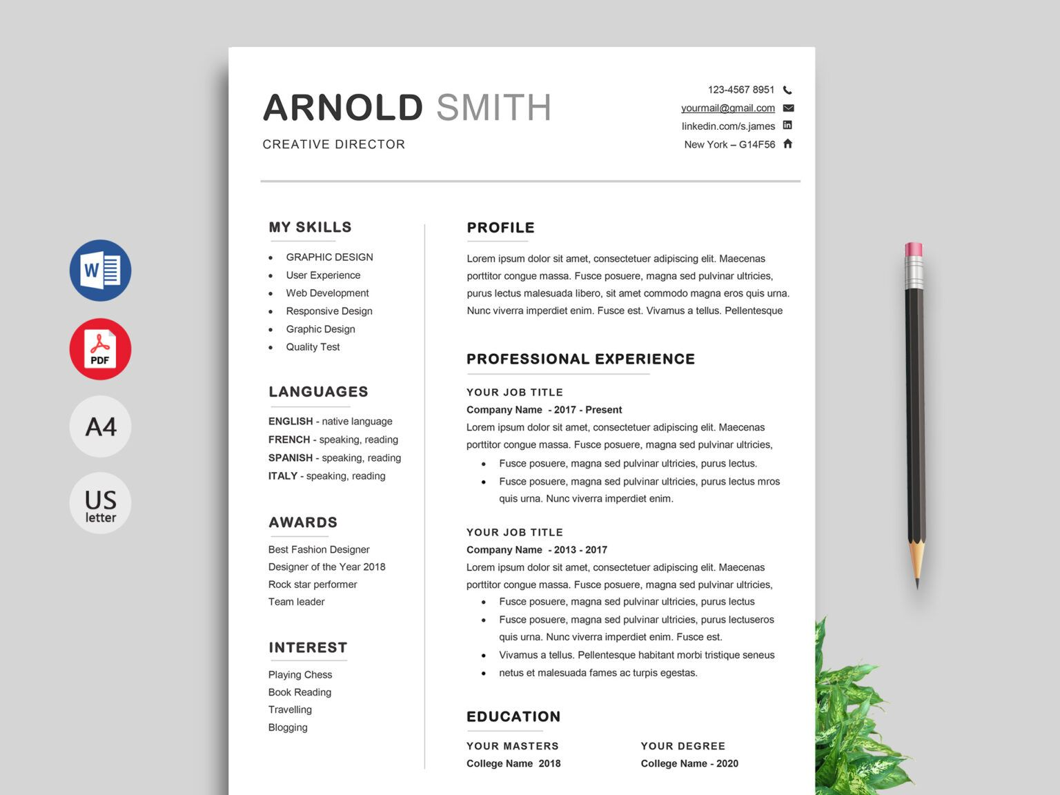 015 Professional Resume Templates Word Free Download