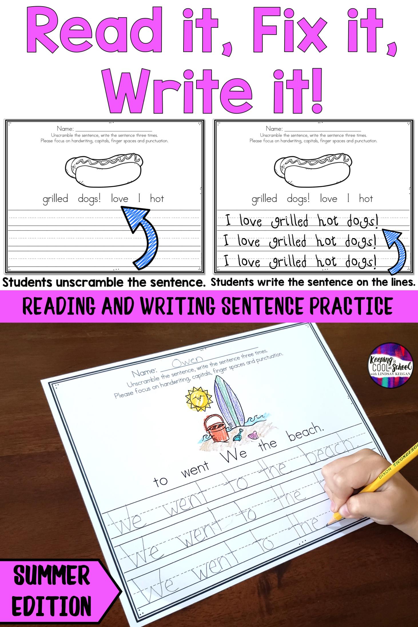 Summer Sentence Writing Practice