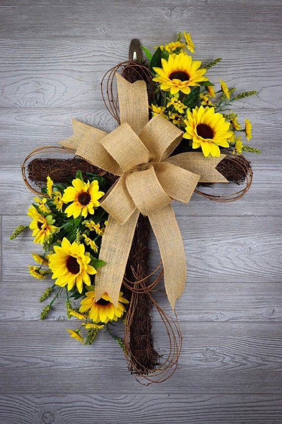 Photo of Cross wreath, everyday wreath, grapevine cross, sunflower wreath, summer wreath, peasant wreath, front door wreath