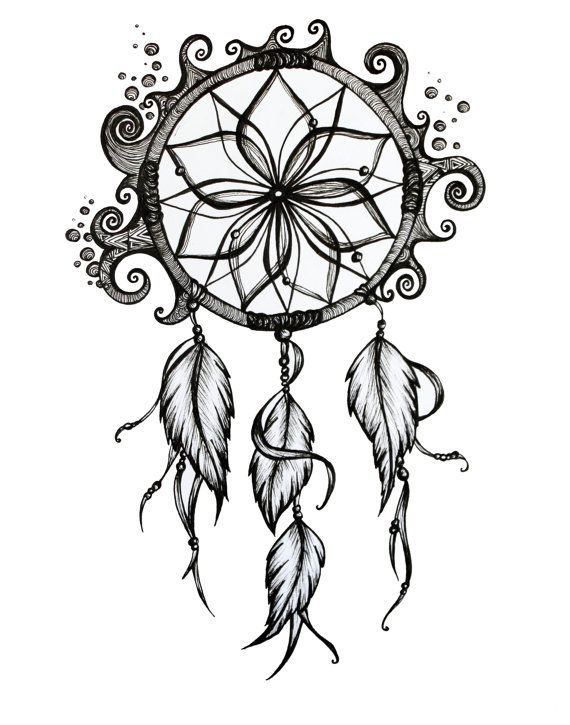 Items similar to Dreamcatcher Drawing. 8x10 Pen and Ink Print. on Etsy. This would be a awesome tattoo
